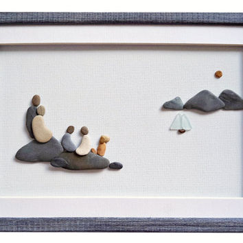Pebble art family, Family of four and dog wall art, Nautical theme wall decor, New home housewarming gift, Family gift, Framed wall art