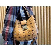 MCM female print LOGO lock shoulder bag Messenger bag