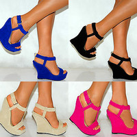 LADIES BLACK BLUE BEIGE FUCHISA PINK BRIGHT WEDGES STRAPPY PLATFORMS HIGH HEELS