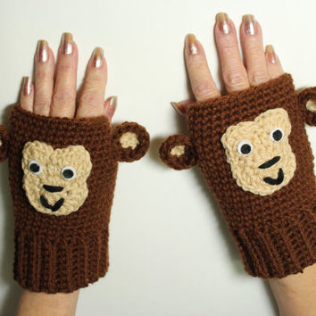 Monkey Fingerless Mittens, Animal Fingerless Gloves, Crochet Winter Gloves, Animal Mittens, Brown Hand warmers