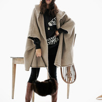 Women's hooded knit sweater wool cape coat autumn / winter coat oversize cape knit outerwear in apricot BJ011