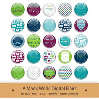 Scrapbooking Elements Embellishments Flairs Brads Buttons Digital Stickers Printable Clipart Purple and Blue Clip Art Fathers Day Baby Boy
