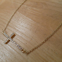 Gold Sideways Cross Necklace   Candy's Cottage