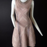 LMF3DS HERVE LEGER-Dusty Rose Studded Bodycon Dress, Size- XSmall