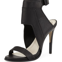 Venga Leather Ankle-Wrap Sandal, Black
