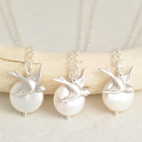 Bridesmaid Gift Set, matching necklaces, bridesmaid necklace, gift set of 2 3 4 5, gift set of 6 7 8 9 10, silver bird necklace, BR