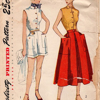 1950s Simplicity Sewing Pattern Vintage Retro Blouse Button Front Top Shirt Cuffed Shorts Full Skirt Casual Day Fashion Bust 36
