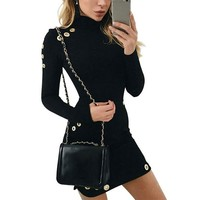 Elegant Sexy Hollow Out Slim Long Sleeve Dress