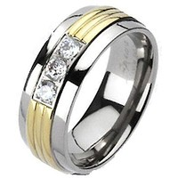 Men's Women's Solid Titanium Gold IP Grooved Center Triple CZ Band Ring 6-13