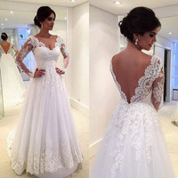 2017 Luxury Long A-line Wedding Dresses Princess White Tulle Appliques Long Sleeves V-Back Bridal Gowns Robe De Mariage P16875