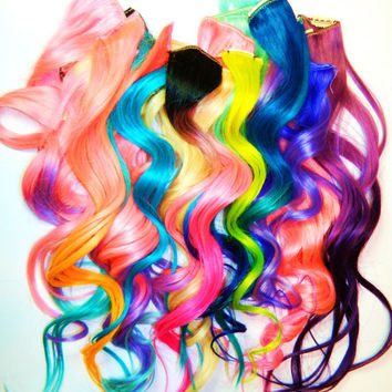 CUSTOM Order YOU CHOOSE 4pc set Ombre or Solid Clip In Human Hair Extensions Dip Dye Tye Dye