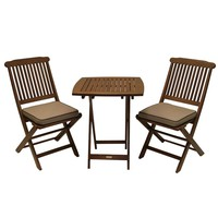 3-Piece Bistro Outdoor Patio Furniture Set with Chair Cushions