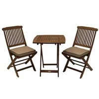 3 Piece Bistro Outdoor Patio Furniture Set With Chair Cushions