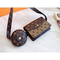 Inseva LV Louis vuitton fashion sensation sells two pieces of classic printed monogrammed colored Fanny pack for women