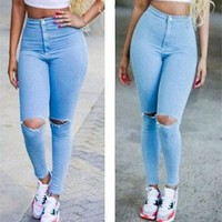 Women High Waisted Jeans Skinny Stretchy Pants Ripped Distressed Jeggings