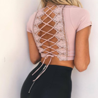 Fashion sexy back lace up type hollow show thin top White