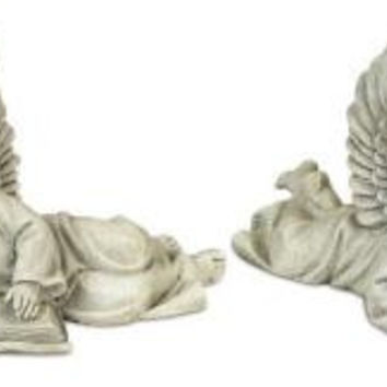"""2 Angel Outdoor Statues - 7 """" H"""