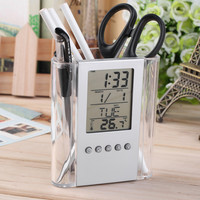 Free shipping NEW Digital Desk Pen/Pencil Holder LCD Alarm Clock Thermometer&Calendar Display hot selling