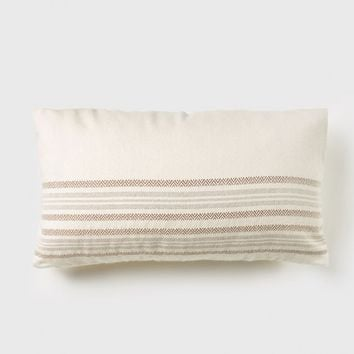 Striped Alpaca Lumbar Pillow - Ivory/Oatmeal