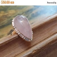 75% OFF SALE Rose Quartz Size 8 1/4 Ring Gemstone. 925 Sterling  Silver Etsy Gift Sale