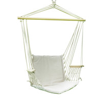 """Adeco Hammock Chair Tree Hanging Suspended Outdoor Indoor Bed, Natural Color, 63"""" Wide"""