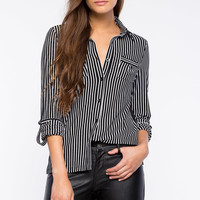Stripe Button Front Top
