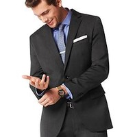 Tailored-Fit Charcoal Italian Wool Suit Jacket