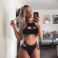 Exotic Lingerie Women's Fashion Casual Hollow Out Backless Bottom & Top Sportswear Set [1414816563297]