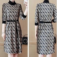 FENDI Autumn Winter Trending Women Stylish Print Pleuche Long Sleeve Dress