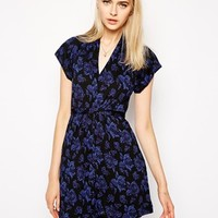 French Connection Tie Waist Dress with Cap Sleeves - Blousy bloom