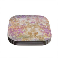 """Marianna Tankelevich """"Retro Summer"""" Yellow Pink Coasters (Set of 4)"""