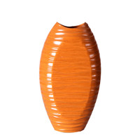 "Decorative Wood Vase Gloss Finish Oblong Textured Design 15"" Tall Orange"