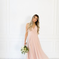 DIANNA FLOWY BLUSH DRESS