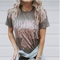 Mother Hustler Gray Bleach Out Tie Dye Tee with Metallic Rose Gold Print