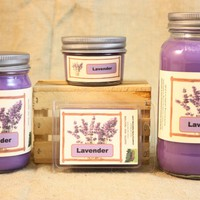 Lavender Scented Candle, Lavender Scented Wax Tarts, 26 oz, 12 oz, 4 oz Jar Candles or 3.5 Clam Shell Wax Melts