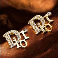 Dior classic full diamond letters ladies temperament earrings accessories