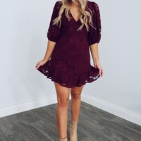 Keep Charming Everyone Dress: Wine