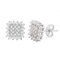 Sterling Silver Micropave Stud Earrings White Cubic Zirconia Scalloped Edge 10mm
