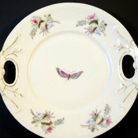 Victorian Cake Plate Antique Porcelain Handled Platter Pink Floral w/ Butterfly Gilt Trim Hand Painted 1880's Bavaria Fine China Plate