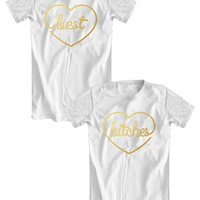 BEST BITCHES t-shirts with golden letters