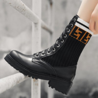 Fendi new women's stretch knit Martin boots