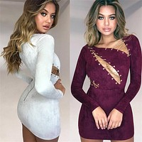 SUEDE CHAIN LACE-UP DRESS
