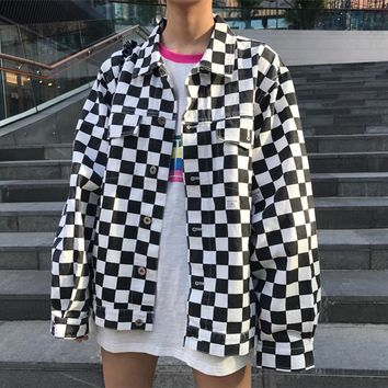 checkered collared loose jacket