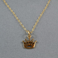 Crown Necklace Gold Vermeil Style 14K Gold Filled Chain