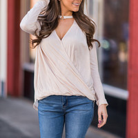 No Turning Back Now Blouse, Beige