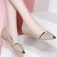 2019 Spring Ladies Flats Shoes Women Pearl Comfortable Pointed Toe Flat Shoes Gold Silver Female Casual Woman Boat Shoes
