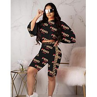 FENDI New Fashion Women Personality Print Long Sleeve Top Shorts Set Two-Piece Black