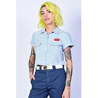 Blue Cropped Work Shirt by Dickies Girl