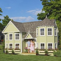 Little Cottage Sara Victorian 10 x 18 Mansion Wood Playhouse | www.hayneedle.com