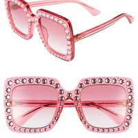 Gucci 53mm Crystal Embellished Square Sunglasses | Nordstrom
